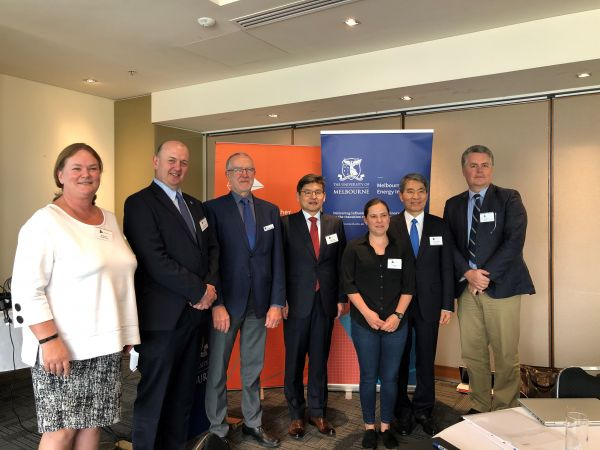 From left to right; Dr Sarah Ryan, Dr Patrick Hartley, Dr Bruce Godfrey, Professor Chinho Park, Dr Fiona Beck, Oh-Kyong Kwon and Professor Michael Brear.