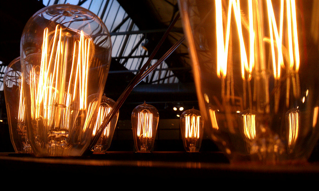 Glowing vintage lightbulbs