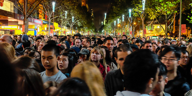 Just a face in a crowd - experiencing Melbourne's White Night